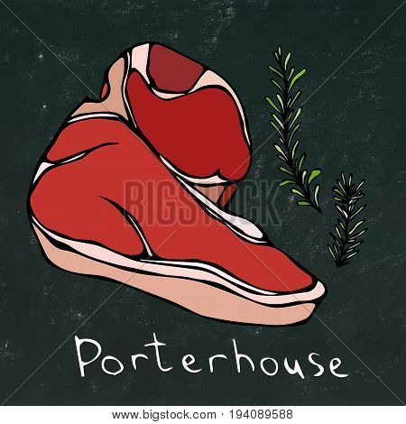 Porterhouse Steak Cut Vector Isolated On Chalkboard Background.