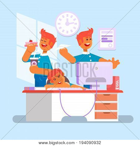 Manager. employee, clerk, office worker. A manager sits in the chair, his feet on the table, whistling and idling.Tired businessman at work. Office worker sleeping behind his desk. Flat vector illustration