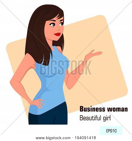 Young cartoon business woman in office style clothes showing something. Beautiful brunette businesswoman. Isometric projection - stock vector