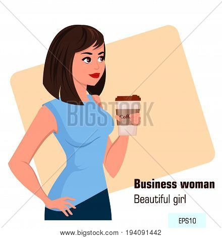 Young cartoon business woman in office style clothes holding hot coffee while coffee break. Beautiful brunette businesswoman. Isometric projection - stock vector