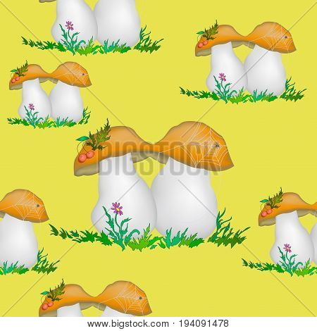 Seamless Pattern, Cartoon Mushrooms, Flowers, Berries, Spider with Cobwebs on Tile Yellow Background. Vector