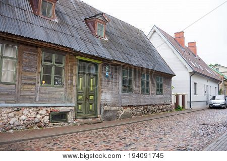 Liepaja, Latvia - July 25, 2016: View Of The Street With Wooden  Old Building In Liepaja, Latvia