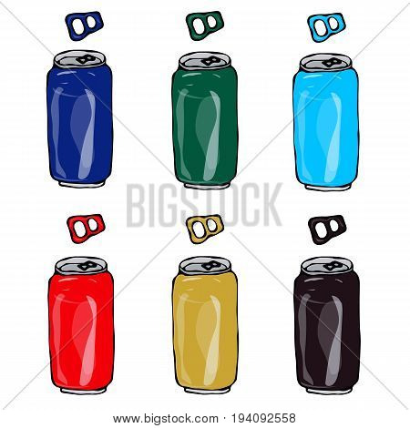 Beer set. Collection of Beer Cans in Different Colours Blue, Green, Red, Gold, Dark Brown. Isolated on white.
