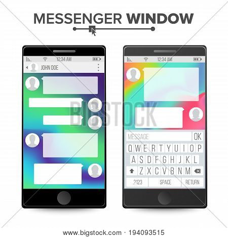 Cell Phone Chat. Chatting And Messaging Concept. Chat Boxes. Text Bubbles And User Interface. Vector Illustration