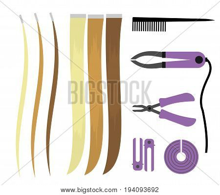 Set of illustrations of icons of hair extensions. Hairdresser professional tools for the procedure. Overhead curls