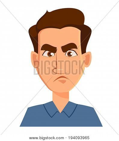 Face expression of a man - dissatisfied angry. Male emotions. Handsome cartoon character. Vector illustration isolated on white background.