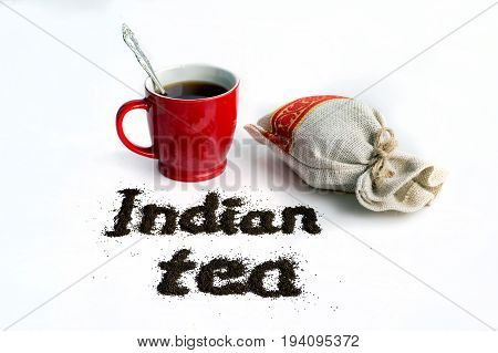 Word Indian Tea Isolated On White