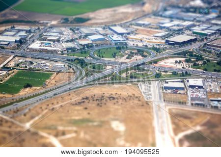 Airplane view of the suburbs of Santiago Chile with tilt-shift effect