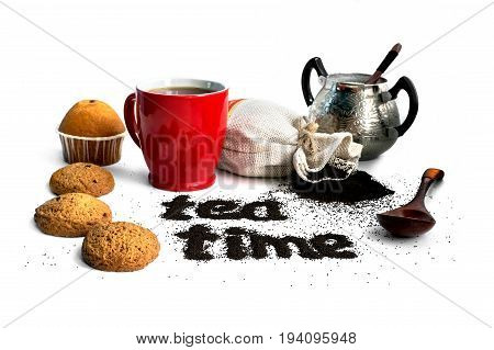 The Concept Of Tea On White Isolated Background.