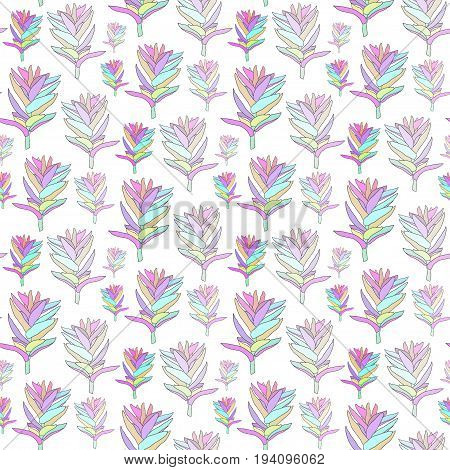 Vector seamless floral pattern with fantasy blooming flowers. Decorative background for print textile fabric home decor packaging wrapping paper.