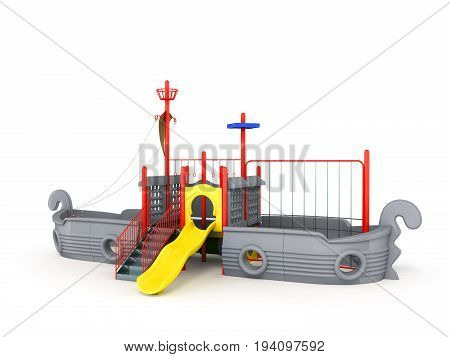 Playground For Children Ship Gray 3D Render On A White Background
