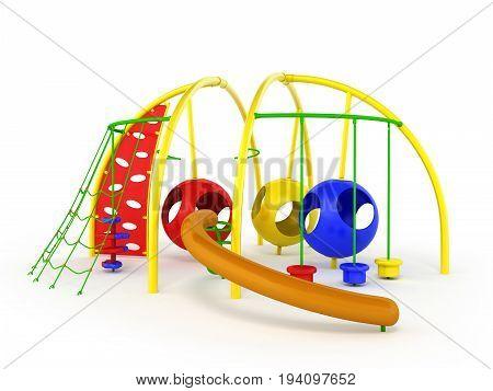 Children's Playground Mesh Slide Balls Red Blue Green 3D Render On White Background