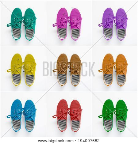 Collage of colorful shoes on paper background