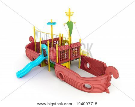 Playground For Children Ship Red 3D Render On A White Background