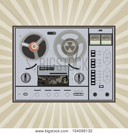 vector old fashion tape recorder on retro background