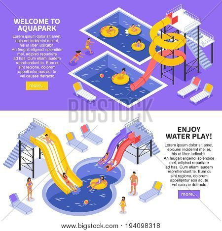 Aqua park horizontal banners set with children and family symbols isometric isolated vector illustration