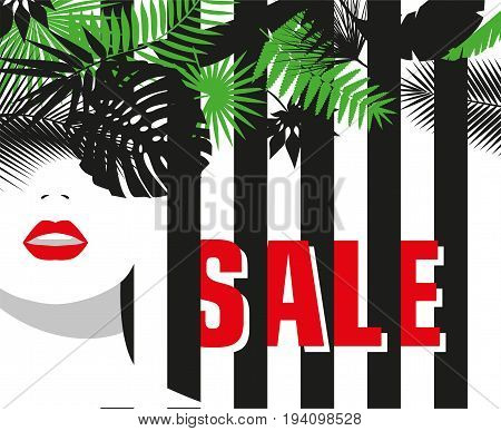 Sale. Banner. Fashion girl. Tropical leaves. Bold, minimal style. Pop Art. OpArt, positive negative space and colour. Vector illustration - stock vector