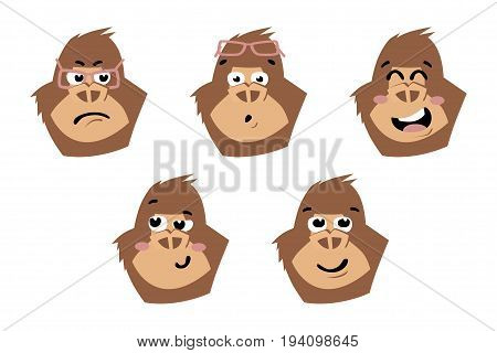 Gorilla cute. Monkey faces emoticons Vector illustration