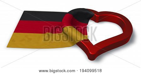 german flag and heart symbol - 3d rendering