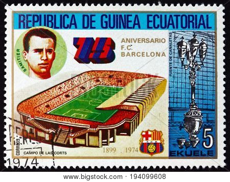 EQUATORIAL GUINEA - CIRCA 1974: a stamp printed in Equatorial Guinea shows Soccer Field Barcelona Soccer Team 75th Anniversary circa 1974