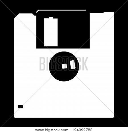 Floppy Disk  The White Color Icon .