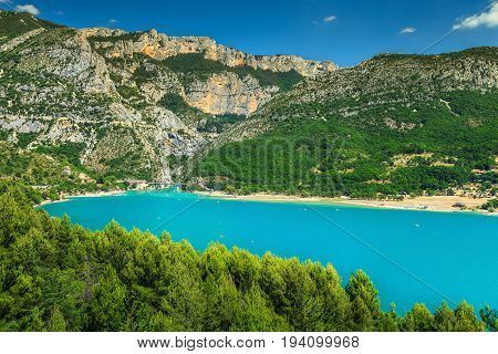Wonderful St Croix Lake and Verdon canyon with high cliffs Provence France Europe