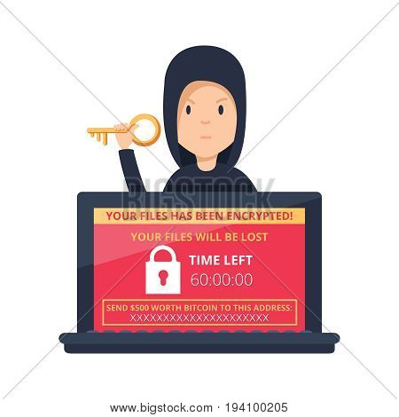 Ransomware malware wannacry risk symbol hacker cyber attack concept computer virus NotPetya infection infographic. Vector hacker risk illustration