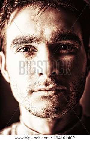 Close-up portrait of a handsome young man. Male beauty. Men's health.
