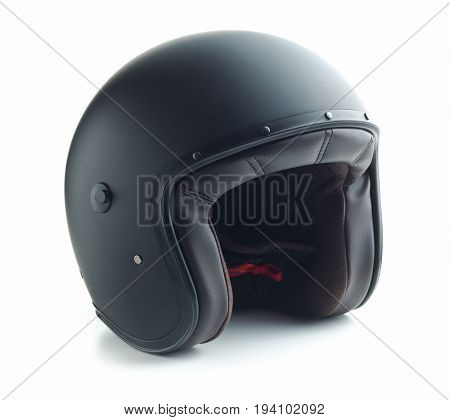 Black motorcycle helmet isolated on white background.