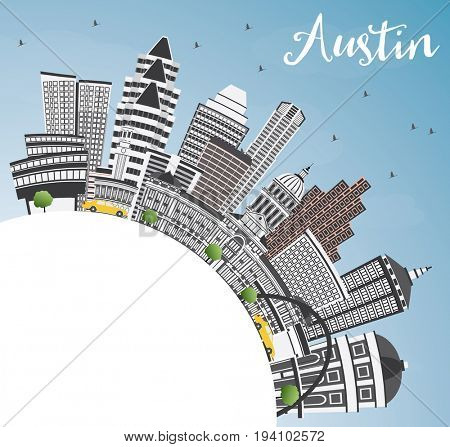 Austin Skyline with Gray Buildings, Blue Sky and Copy Space. Business Travel and Tourism Concept with Modern Architecture. Image for Presentation Banner Placard and Web Site.