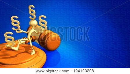 Law Concept The Original 3D Character Illustration Holding Multiple Section Symbols