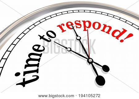 Time to Respond Clock Responsive Service 3d Illustration
