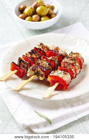 Chicken Skewers with Red Pepper