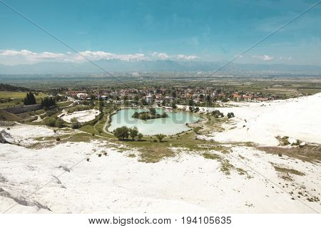 Pammukale, The Turkish UNESCO World Heritage Site.Turkish resort, the unique thermal water rich in calcium. The travertines of calcium