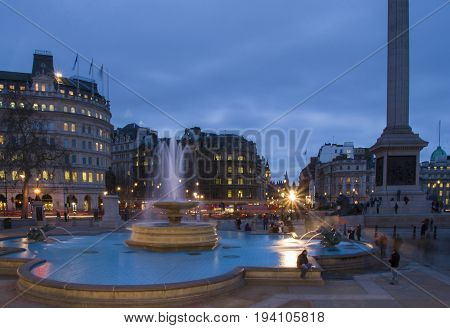 Trafalgar Square In The Blue Hour, London