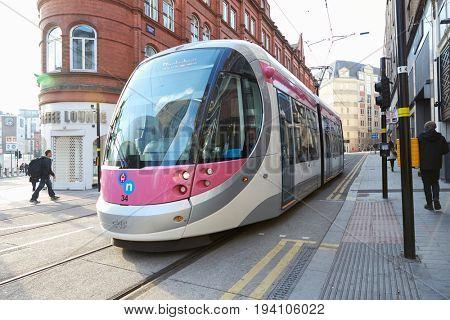 Birmingham, UK - 6 November 2016: Tram In Birmingham City Centre