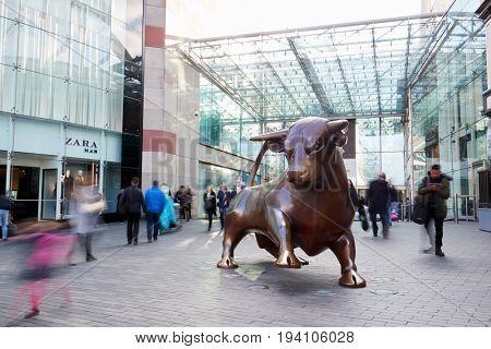 Birmingham, UK - 6 November 2016: Statue Outside The Bullring Shopping Centre In Birmingham UK