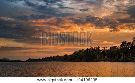 Sunset in Kwanza river basin, Angola, Africa