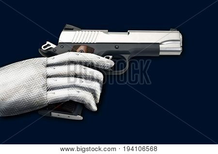 Semi-automatic hand gun with robot like hand.