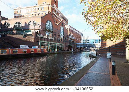 Birmingham, UK - 6 November 2016: Birmingham Canal Old Line Running Through City