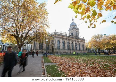 Birmingham, UK - 6 November 2016: Exterior Of Birmingham Cathedral
