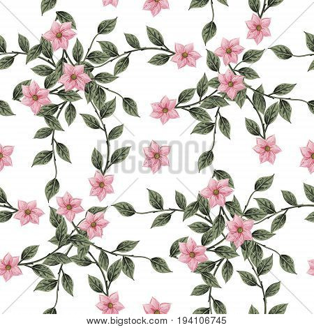 Vintage Floral seamless pattern with Blooming Hydrangea and garden flowers, Vintage vector illustration. Classic. pastel color. botanical Illustration watercolor style