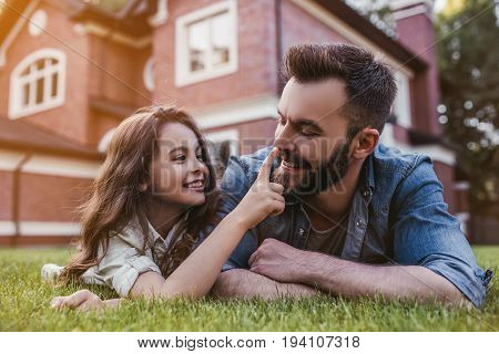 Dad With Daughter Outdoors