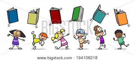 Cartoon of group of children throwing books in the air