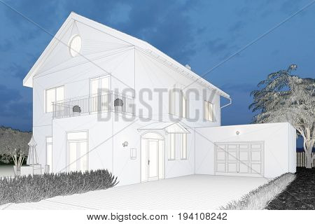 CAD sketch or draft of house in the evening (3D Rendering)