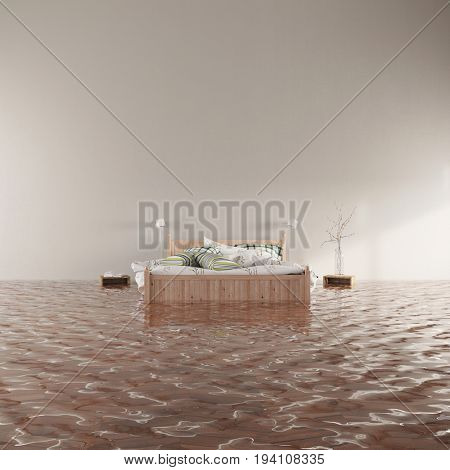 Water damage from flooding in bedroom with bed and blank wall (3D Rendering)