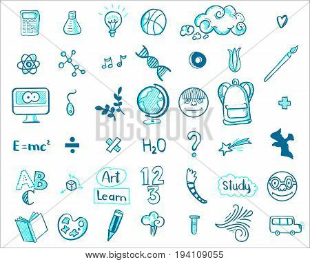 Hand drawn education doodle icons. Vector illustration. School icons set. Linear style sketch. Globe, monitor, book, tassel, pencil, star, light bulb, dna, ball, calculator, abc
