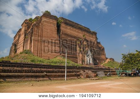 The Mingun Pahtodawgyi or Ruined Mingun Pagoda is an incomplete monument stupa near Mandalay Sagaing Region Myanmar