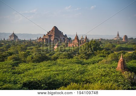 Beautiful landscape of ancient pagoda and temple in Bagan archaeological site famous destination in Mandalay Region Myanmar (Burma) and Southeast Asia