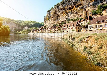 Beautiful view on Dordogne river and famous La Roque Gageac village in France